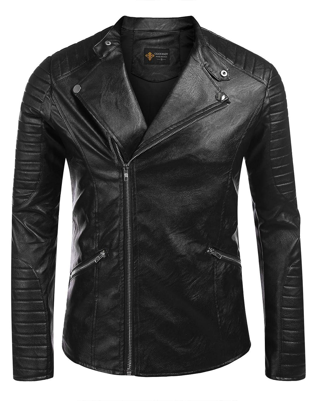 Coofandy Men's Leather Jacket Zipper Fitted Faux Leather Bomber Moto Coat Jacket ETJ006606