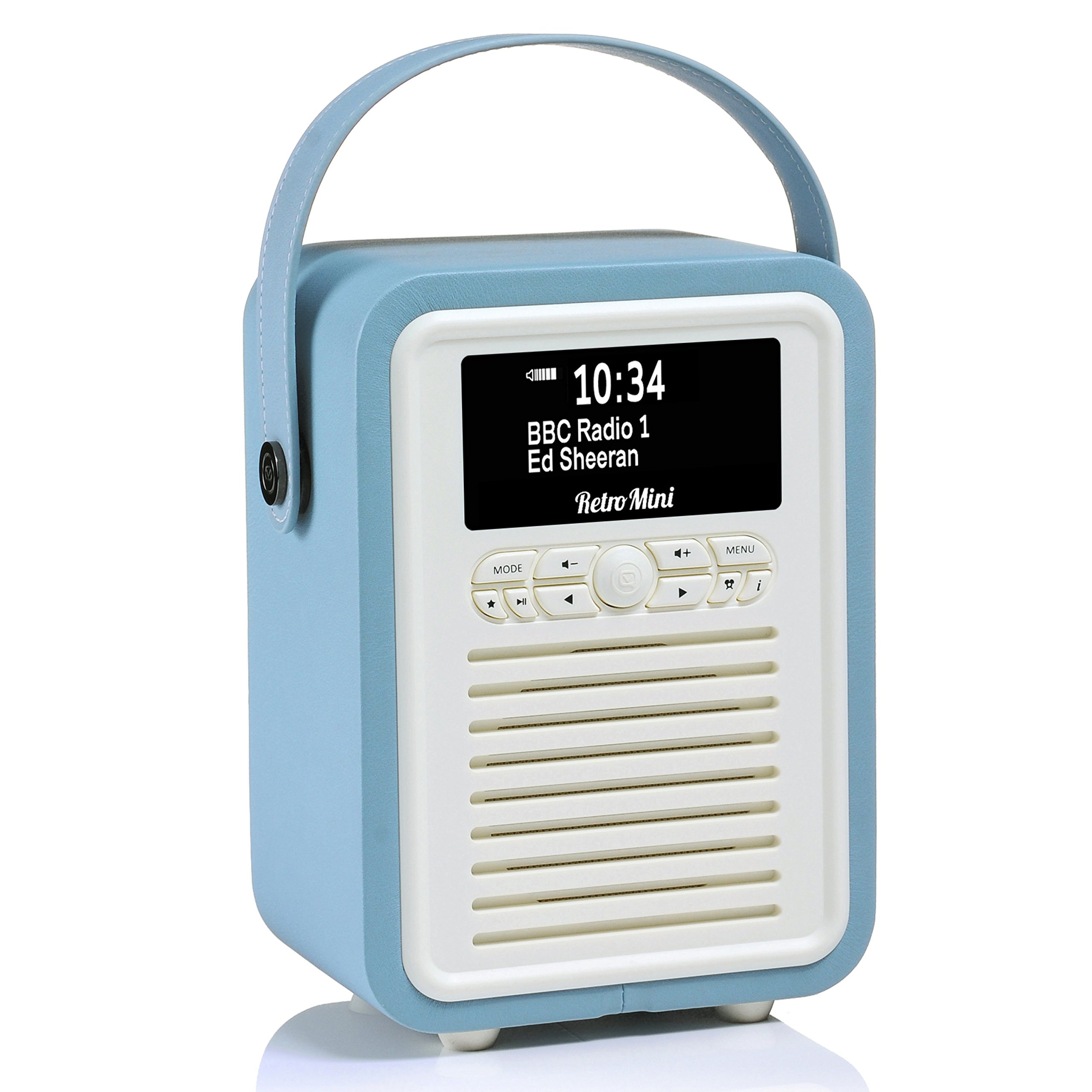 Retro Mini by VQ | Radio & Bluetooth Speaker with AM/FM & HD Radio, Dual Alarm Clock Mains or Battery – Premium PU Leather Case Blue