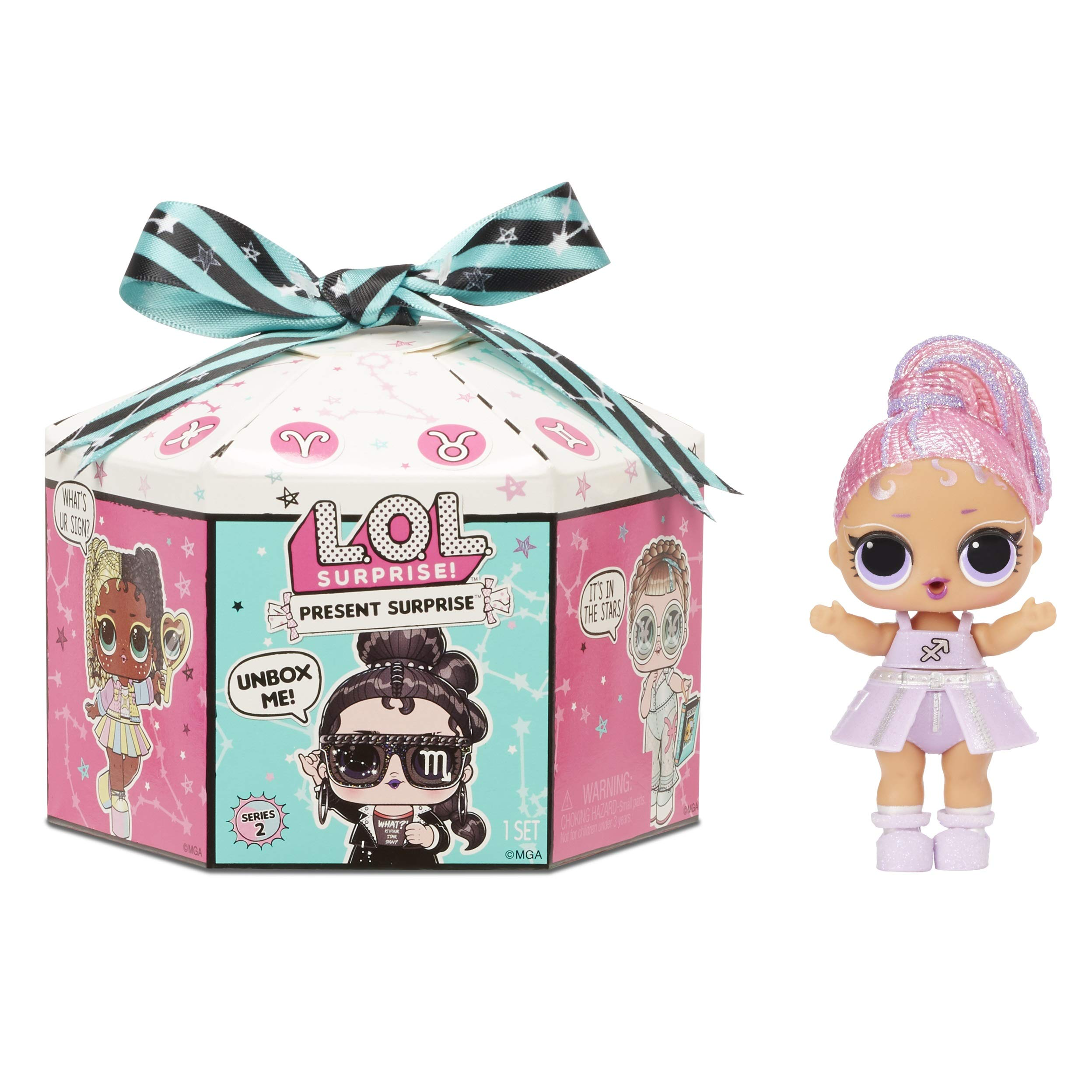 LOL Surprise Present Surprise Series 2 Glitter Shimmer Star Sign Themed Doll with 8 Surprises, Accessories, Dolls