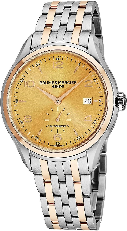 ساعة Baume & Mercier Clifton للرجال بلونين - 41 ملم انالوج أصفر ذهبي وجه سويسري فاخر للرجال 10352