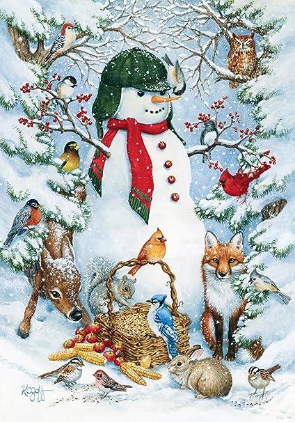 Amazon Com Toland Home Garden Woodland Snowman 28 X 40 Inch Decorative Winter Snow Forest Animal House Flag 109377 Outdoor Flags Garden Outdoor