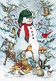 Toland Home Garden 119377 Toland-Woodland Snowman-Decorative Peace Winter Animals Snow Forest USA-Produced Garden Flag