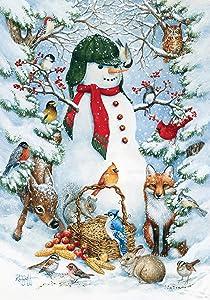 Toland Home Garden Woodland Snowman 12.5 x 18 Inch Decorative Winter Snow Forest Animal Garden Flag