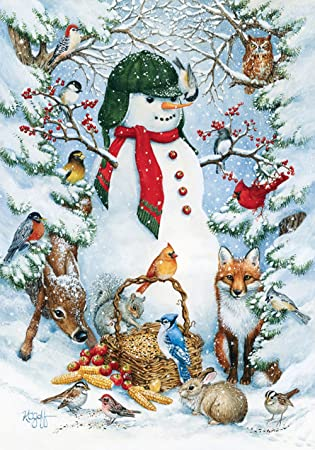 Toland   Woodland Snowman   Decorative Peace Winter Animals Snow Forest  USA Produced Garden Flag