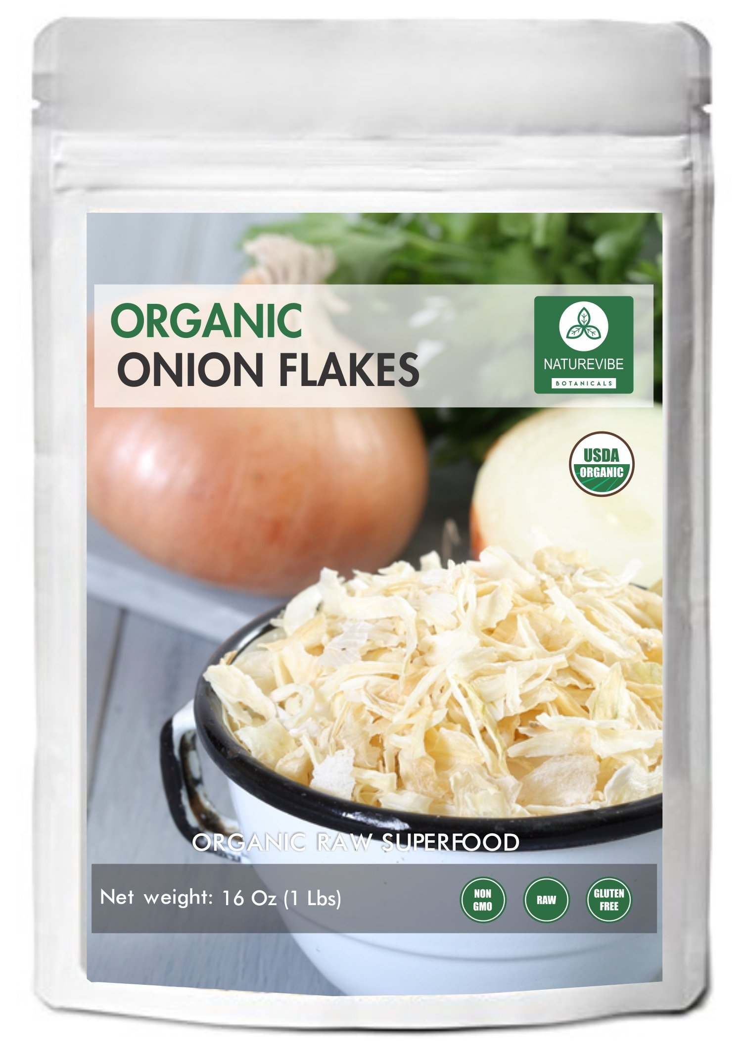 Organic White Onion Flakes (1lb) by Naturevibe Botanicals, Raw, Gluten-Free & Non-GMO (16 ounces)