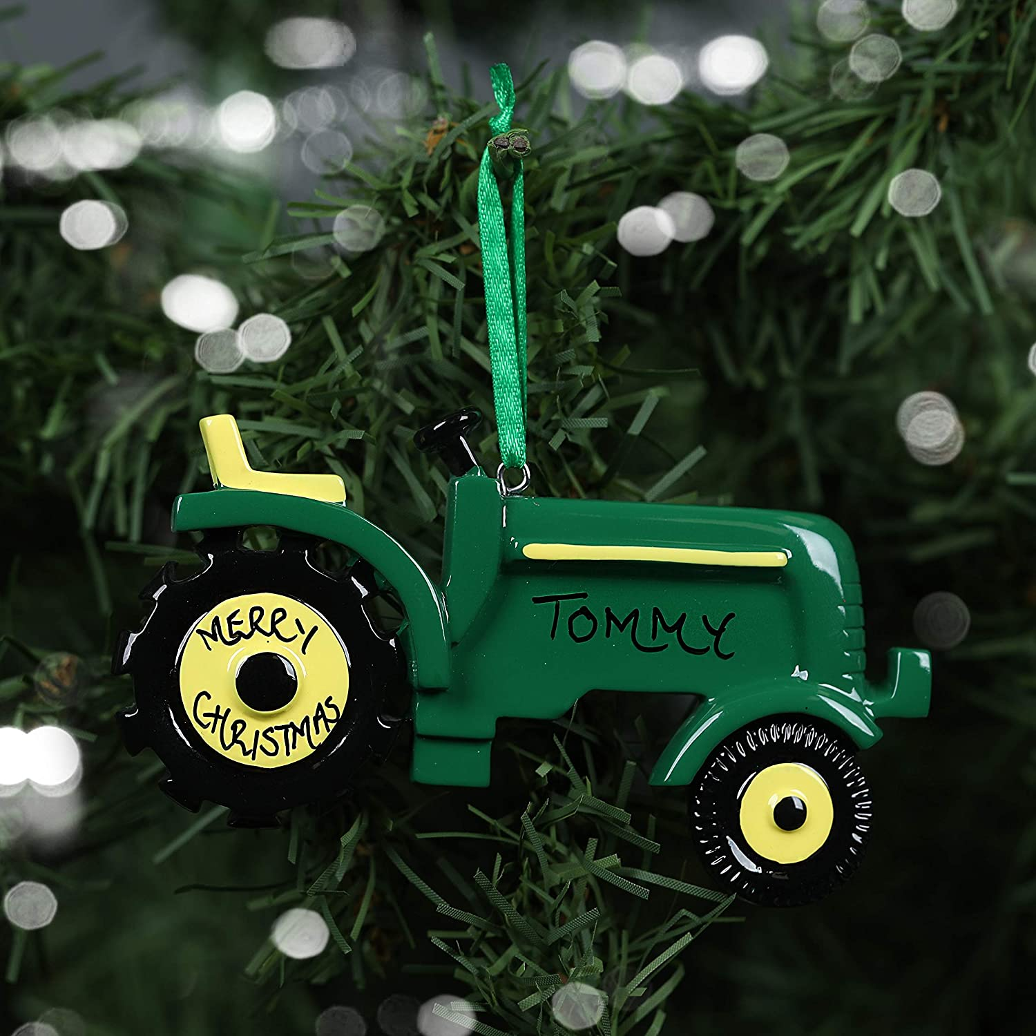 Personalised Hand Crafted Custom Green Tractor Christmas Tree Decorations Xmas Bauble Ornaments Amazon Co Uk Handmade