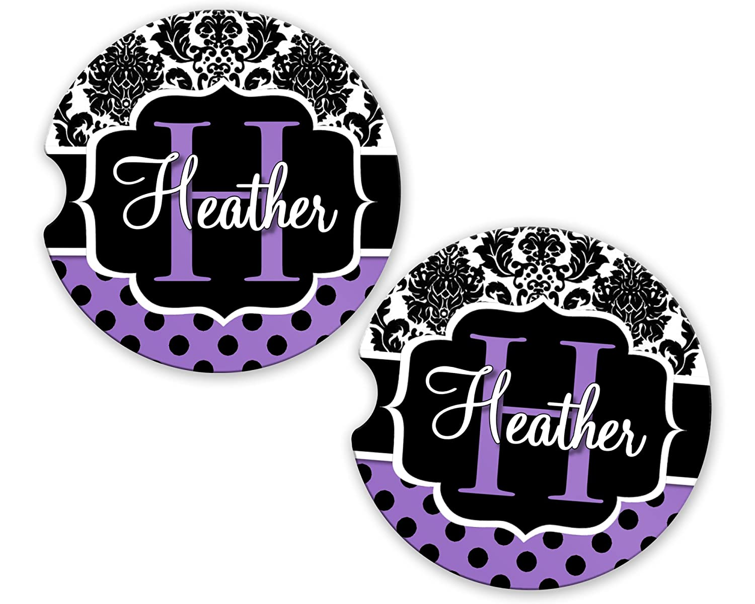 BrownInnovativeMedia Purple Damask Polka Dots Personalized Monogram Sandstone Car Cup Holder Matching Coaster Set