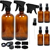 6 Amber Glass Spray Bottles, 2 Pack 16 oz Empty Amber Spray Bottles and 4 Pack 2 oz Glass Amber Spray Bottles for Essential Oils