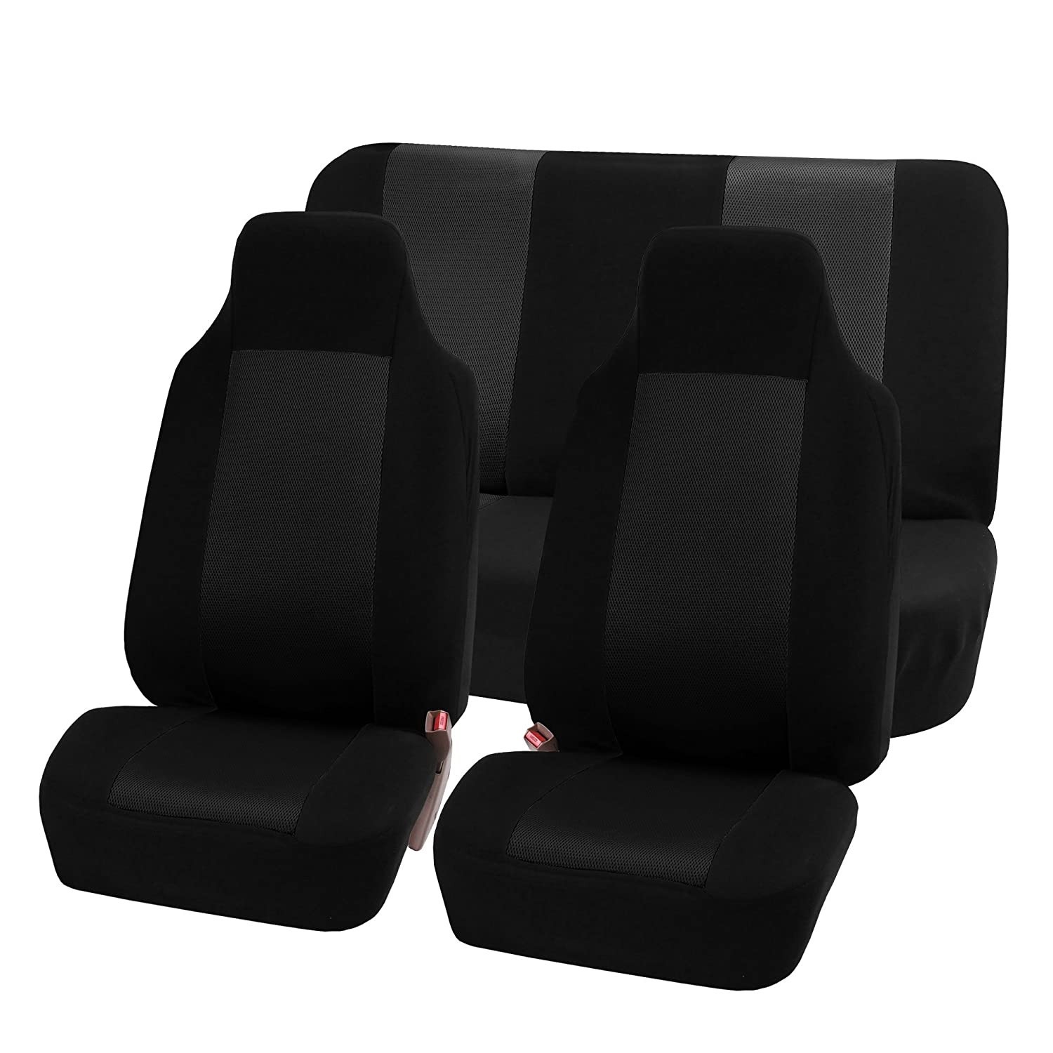 FH GROUP FH-FB102112 Classic Cloth Car Seat Covers Universal Full Set / Complete Seat Black Color High Back Bucket - Fit Most Car, Truck, Suv, or Van?