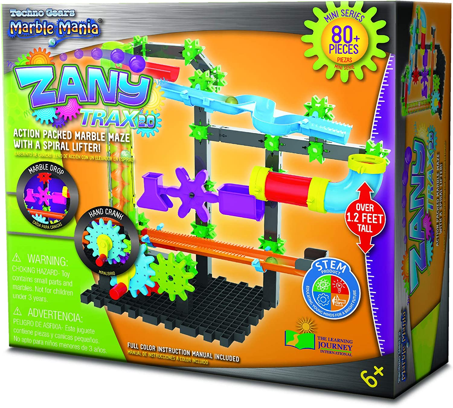 Pieces 80 Techno Gears Marble Mania Zany Trax 4.0 Action Packed Marble Maze with A Spriral Lifter