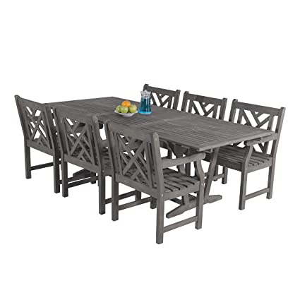 Fantastic Amazon Com Vifah V1336Set18 4 Piece Bradley Outdoor Wood Ocoug Best Dining Table And Chair Ideas Images Ocougorg