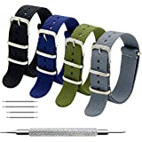 Nato Strap 4 Packs 18mm 20mm 22mm Ballistic Nylon Watch Bands Swiss Zulu Straps Stainless Steel Buckle with 4 Top Spring Bars and Spring Bar Link Pin Remover Tool