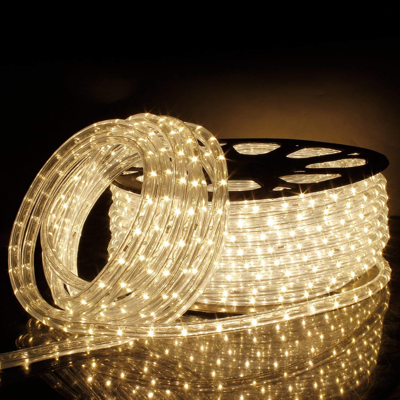 Kefflum 2 Stück 50M LED Lichterschlauch, Lichtschlauch Lichterkette Licht Licht Licht Leiste 36LEDs M Schlauch für Innen und Außen IP65 Warmweiß da2862