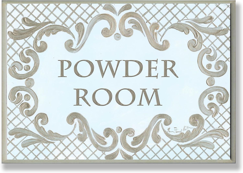 Stupell Industries The Stupell Home Decor Powder Room Aqua and Gold Lattice Bathroom Wall Plaque, 13 x 19, Design by Artist Jane Keltner