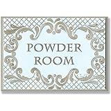 The Stupell Home Decor Collection Powder Room Aqua and Gold Lattice Bathroom Wall Plaque