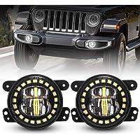 DOT Approved Black 4 Inch LED Fog Lights with White Halo Ring for 2007-2018 Jeep Wrangler JK JKU TJ LJ Freedom Edition