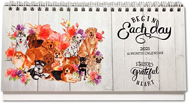 Amazon.: 2021 2022 Stand Up Desk Calendar Cute Dog and Floral