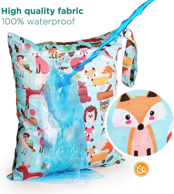 GeeRic Wet Dry Bag 3 Pack Windeltasche Waschbar Wiederverwendbare Kommt mit Zwei Rei/ßverschl/üssen DREI Gr/ö/ßenkombinationen f/ür Kleinkind Windeln Reisen Gym Aufbewahrungstasche