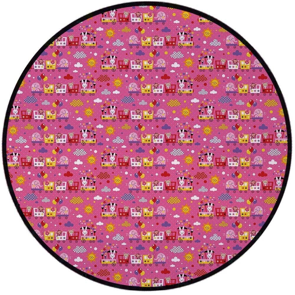Printing Round Rug,Kids Decor,Animal Train with Monkeys Elephant Teddy Bear Bunny Sun Clouds Cute Baby Theme Decorative Mat Non-Slip Soft Entrance Mat Door Floor Rug Area Rug For Chair Living Room,Mul