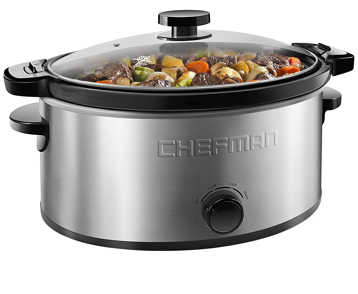 Chefman Locking Lid Slow Cooker Removable Stoneware for Easy Cleaning, 6 Quart Capacity, Stainless Steel