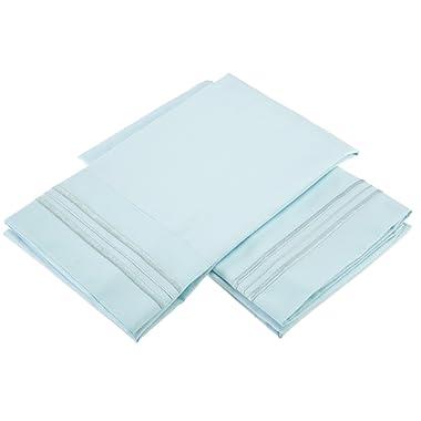 Clara Clark Premier 1800 Collection Pillowcases, Standard, Light Blue Aqua