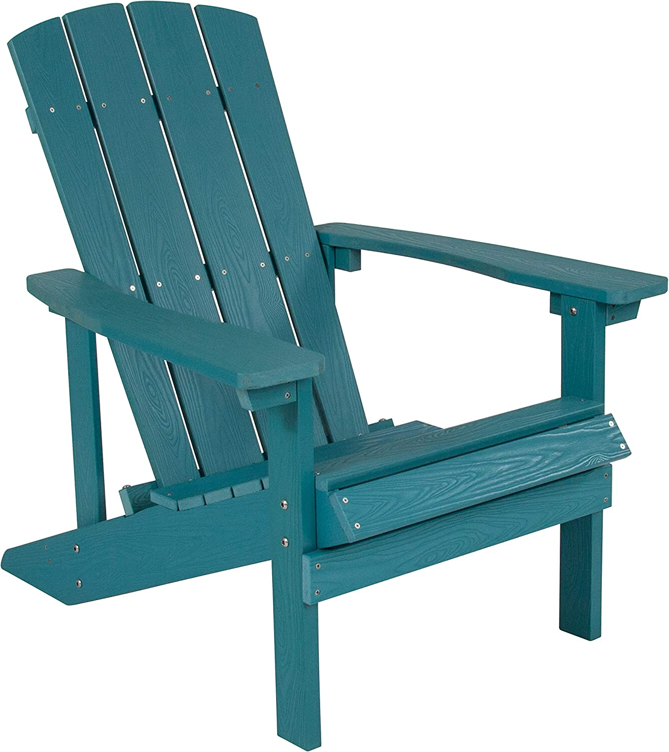 Flash Furniture Charlestown All-Weather Adirondack Chair in Sea Foam Faux Wood