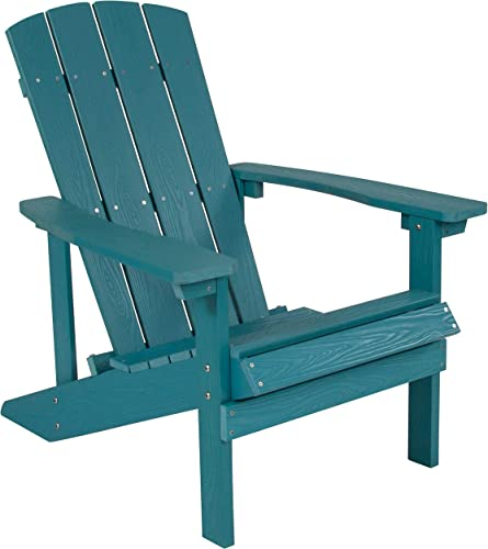 Flash Furniture Charlestown All-Weather Adirondack Chair in Sea Foam Faux Wood –
