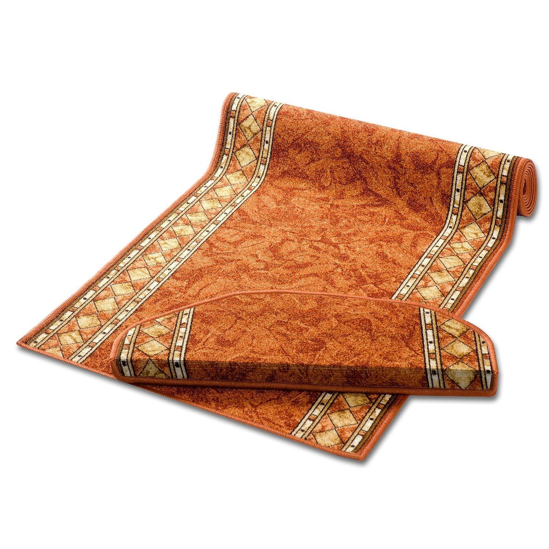 casa pura Non-Slip Carpet Floor Runner, Marble Design - Terracotta | Over 50 Sizes | Matching Stair Treads Avail. (80 x 600 cm)