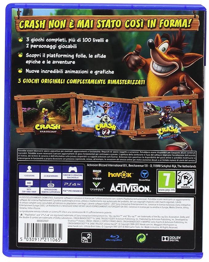 e5377e09bd7910 Crash Bandicoot N. Sane Trilogy - PlayStation 4: Activision: Amazon.it:  Videogiochi