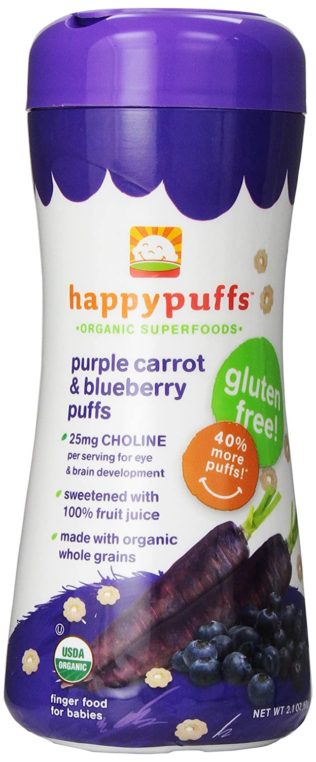 Happy Baby Organic Superfood Puffs Purple Carrot & Blueberry, 2.1 Ounce Canister (Pack of 6) Organic Baby or Toddler Snacks, Crunchy Fruit & Veggie Snack, Choline to Support Brain & Eye Health 01024