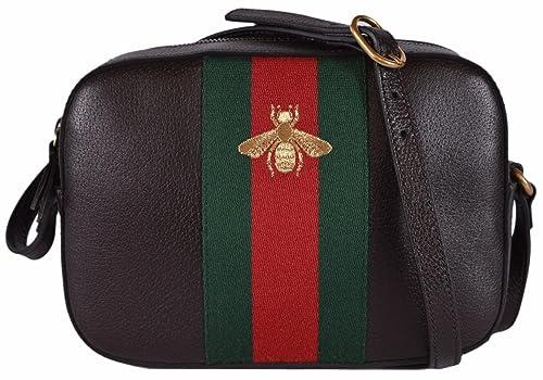 0784c9864 Gucci Women's Leather Red Green Web BEE Crossbody Handbag (Brown):  Amazon.ca: Shoes & Handbags