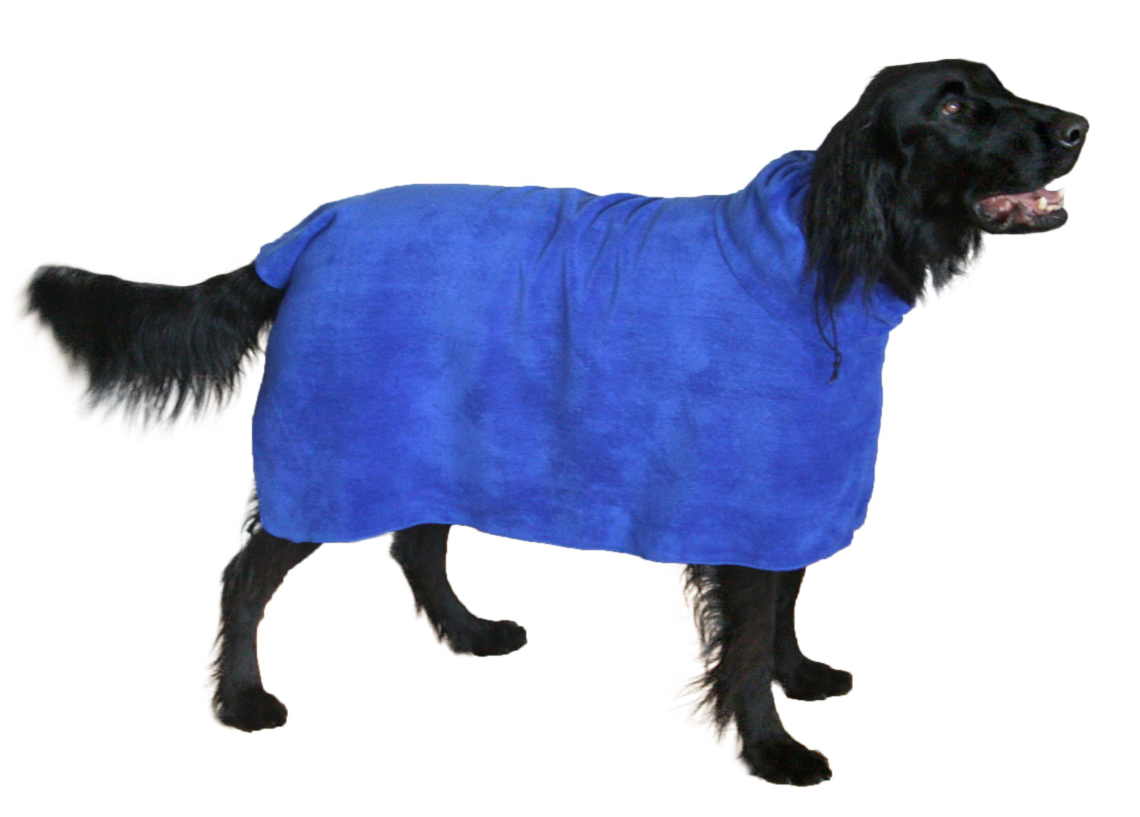 THE SNUGGLY DOG Easy Wear Dog Towel. Luxuriously Soft, Fast Drying 400gsm Microfiber. Soft Belt included for a Warm Plush Dog Robe. X-Large Blue