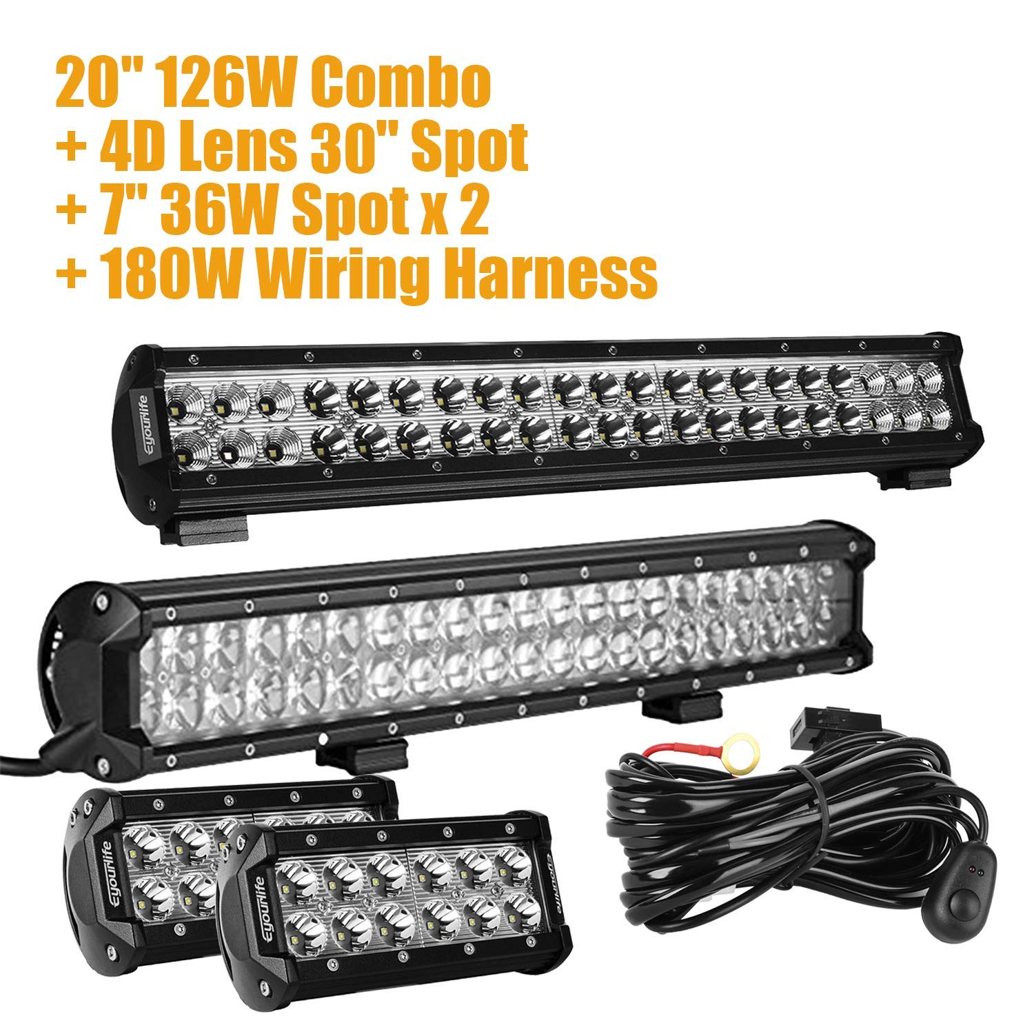 Amazon.com: Eyourlife Wiring Harness, LED Light Bar,Spot ... on off-road light bars, lag bolting down light bars, lihgt and police lights bars,