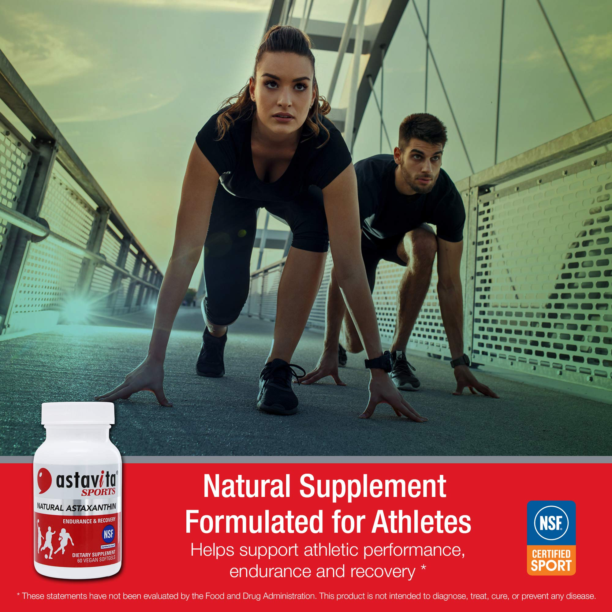 Astavita Sports Natural Astaxanthin Supplement for Endurance and Recovery, NSF-Certified for Sport (Non-GMO Project Verified and Gluten Free, Contains 60 Vegan Softgels)
