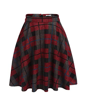 2528ecb2459 Hotouch Women s Plaids Skirts Elastic Waist Knee Length Wool Plaid A-Line  Pleated Flared Skirt