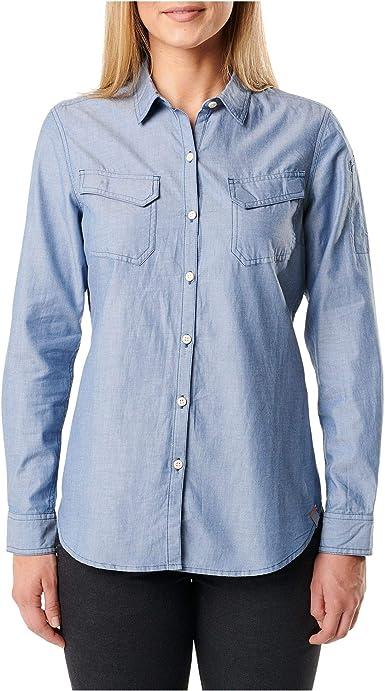 5.11 Camisa clásica Chambray para Mujer, diplomático, Talla S ...