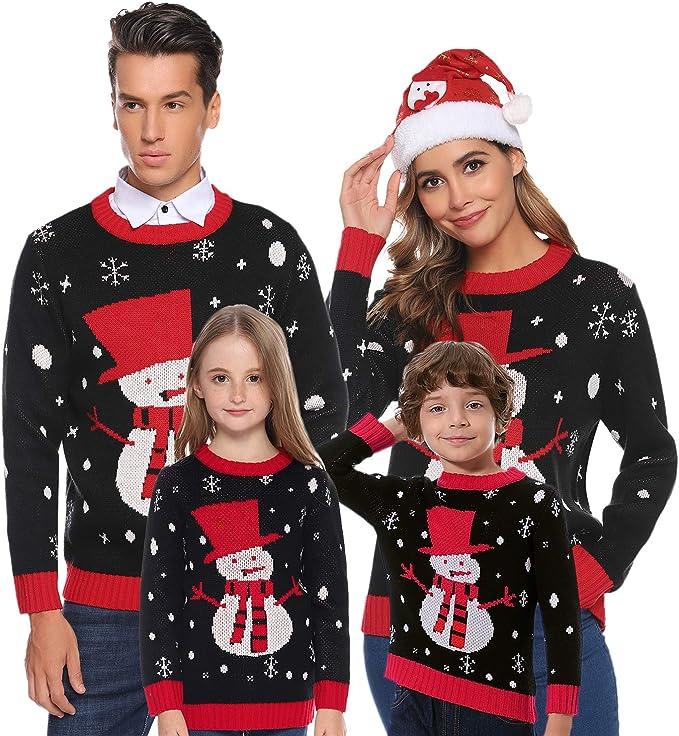 Felpa Famiglia Coordinati Natale per Autunno e Inverno Xmas Pullover in Maglieria per Uomo Donna e Bambini Aibrou Maglione Natalizio Famiglia