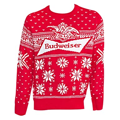 bud budweiser logo mens xmas ugly christmas sweater large
