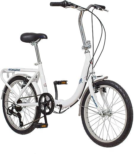 Schwinn Loop Adult Folding Bike, 20-inch Wheels, 7-Speed Drivetrain, Rear Carry Rack, Carrying Bag, Multiple Colors