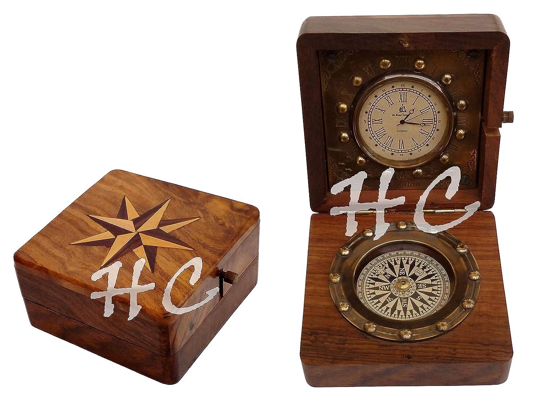 アンティークポケット時計コンパスMarine航海デスククロック真鍮製テーブル装飾 B06XFW24X7