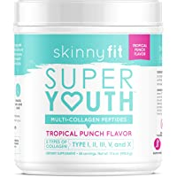 SkinnyFit Super Youth Multi-Collagen Peptide Powder Tropical Punch Flavor, Hair,...