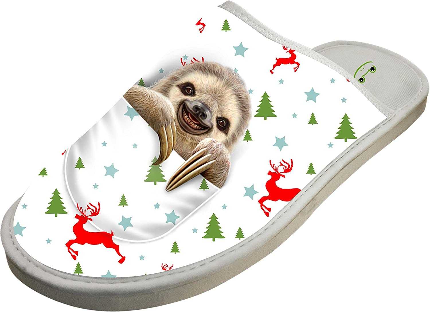 KOUY Pocket Sloth Closed Toe Cotton Slippers Warm Soft Indoor Shoes Non-watertight