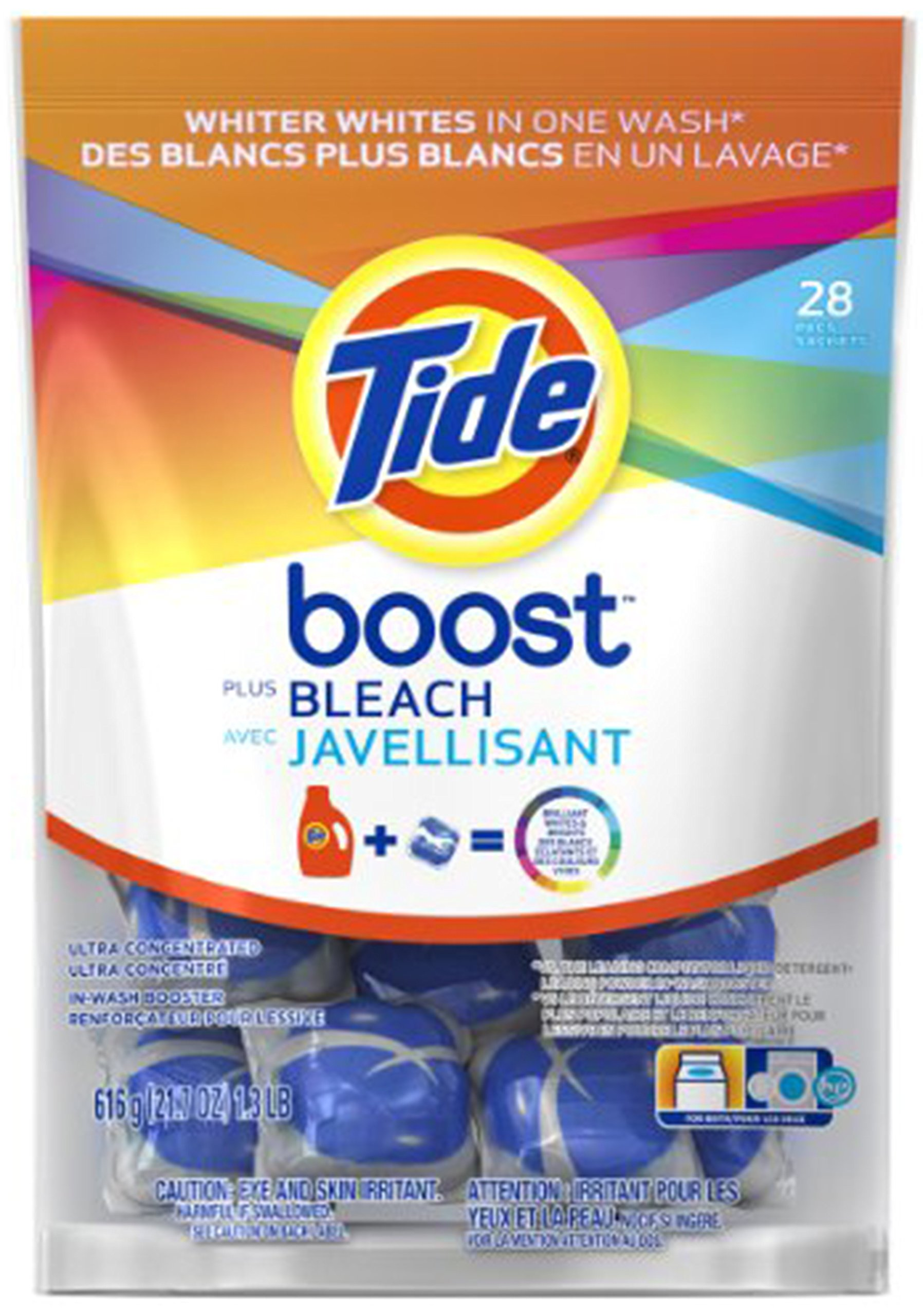Tide Boost Stain Release Plus Bleach, Ultra Concentrated, 28 Count, (Pack of 2)