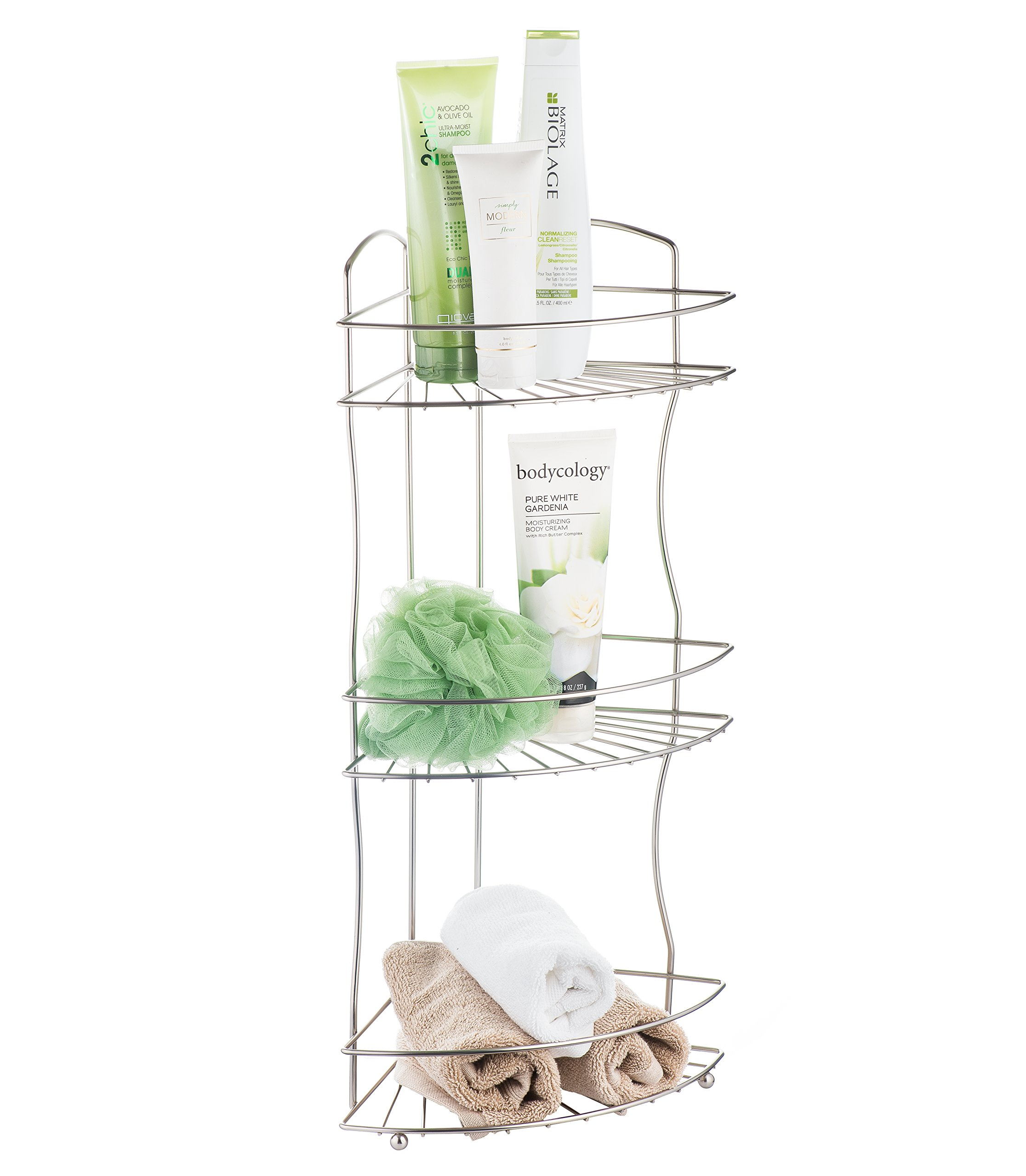 AMG and Enchante Accessories Free Standing Bathroom Spa Tower Floor Caddy, FC232-A SNI, Satin Nickel