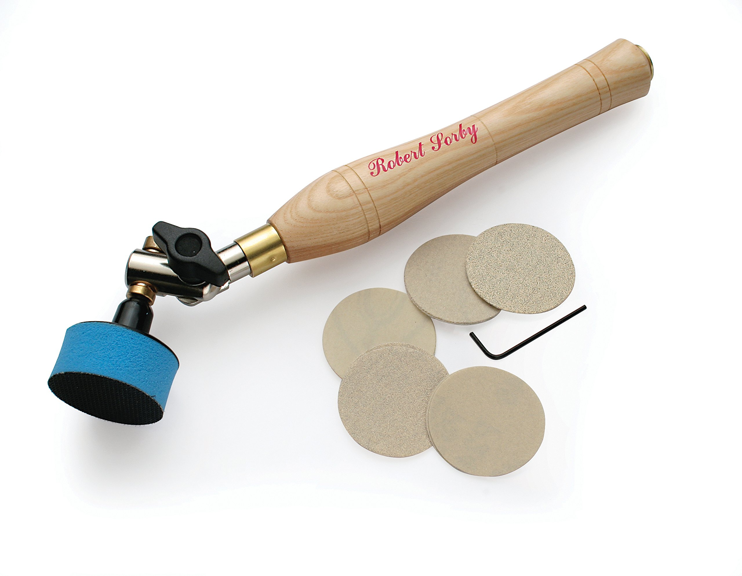 """Robert Sorby H9086 Sandmaster Bowl Sanding Tool with 2"""" Diameter Pad 10 1/2 """" Overall Length 410 by Robert Sorby"""