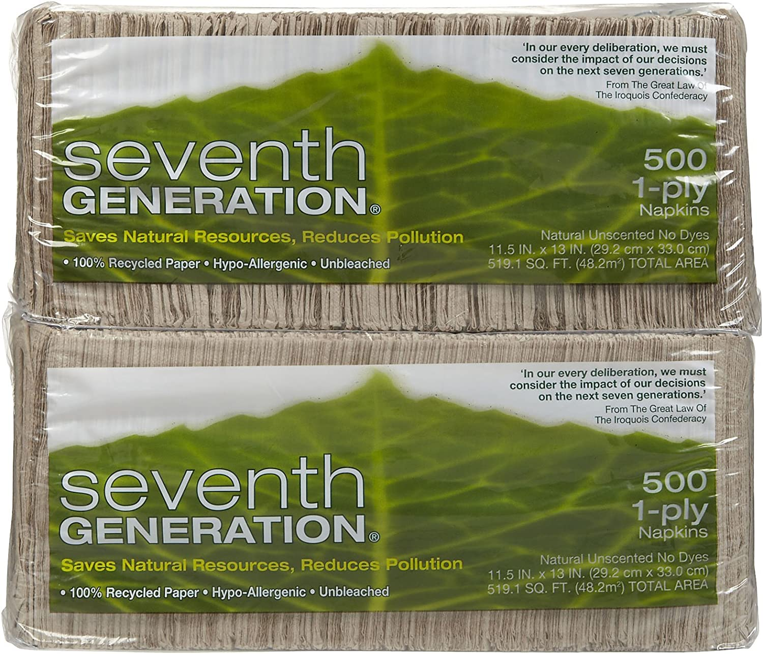 2 pk Seventh Generation Natural Lunch Napkins 500 ct