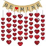 Valentines Day Decorations, Valentines Day Banners,Valentine Glitter Heart Hanging Decoration – BridalShower, Engagement, Ann