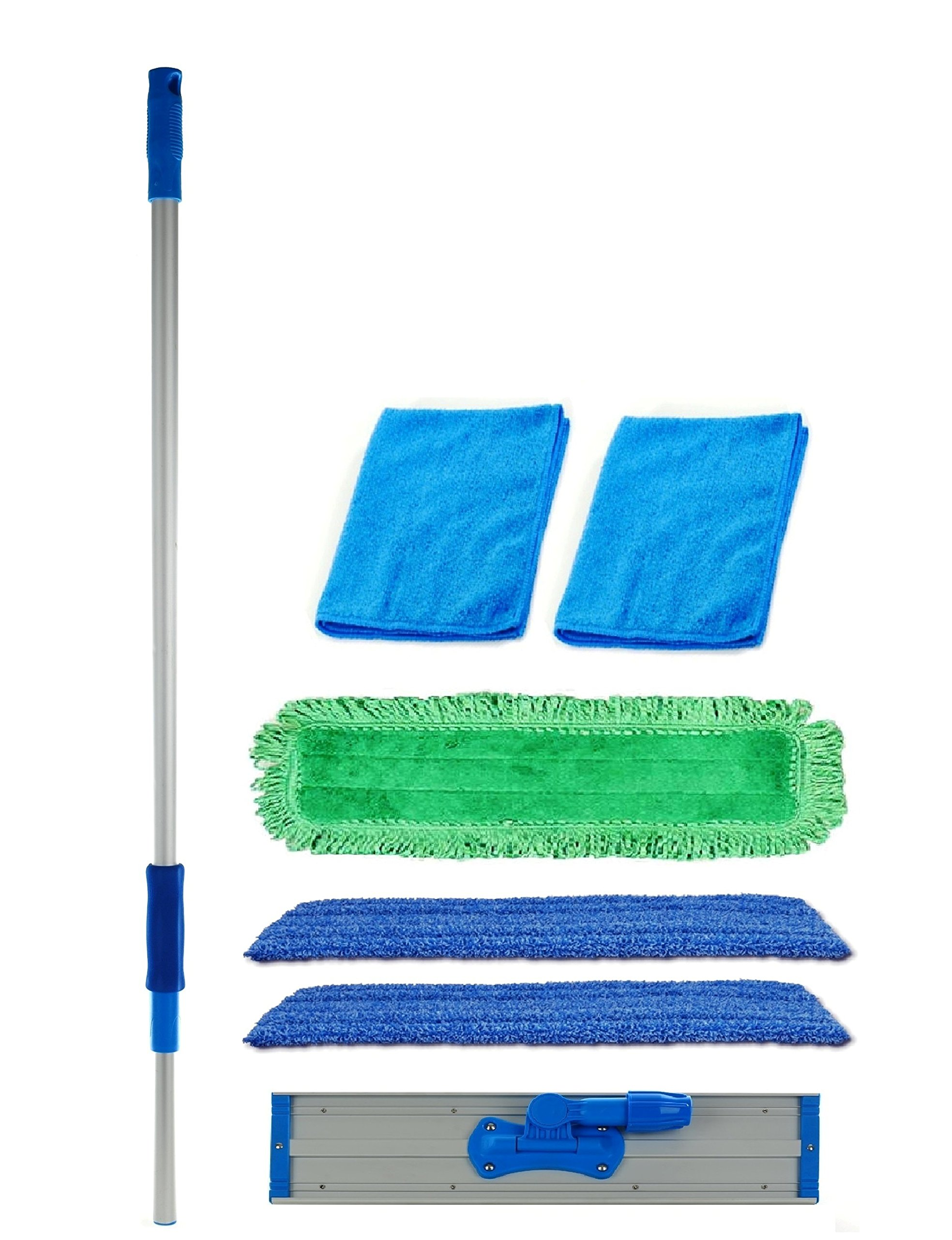 Real Clean 18 inch Professional Commercial Microfiber Mop With Three 18'' Premium Microfiber Mop Pads and 2 Bonus Microfiber Towels