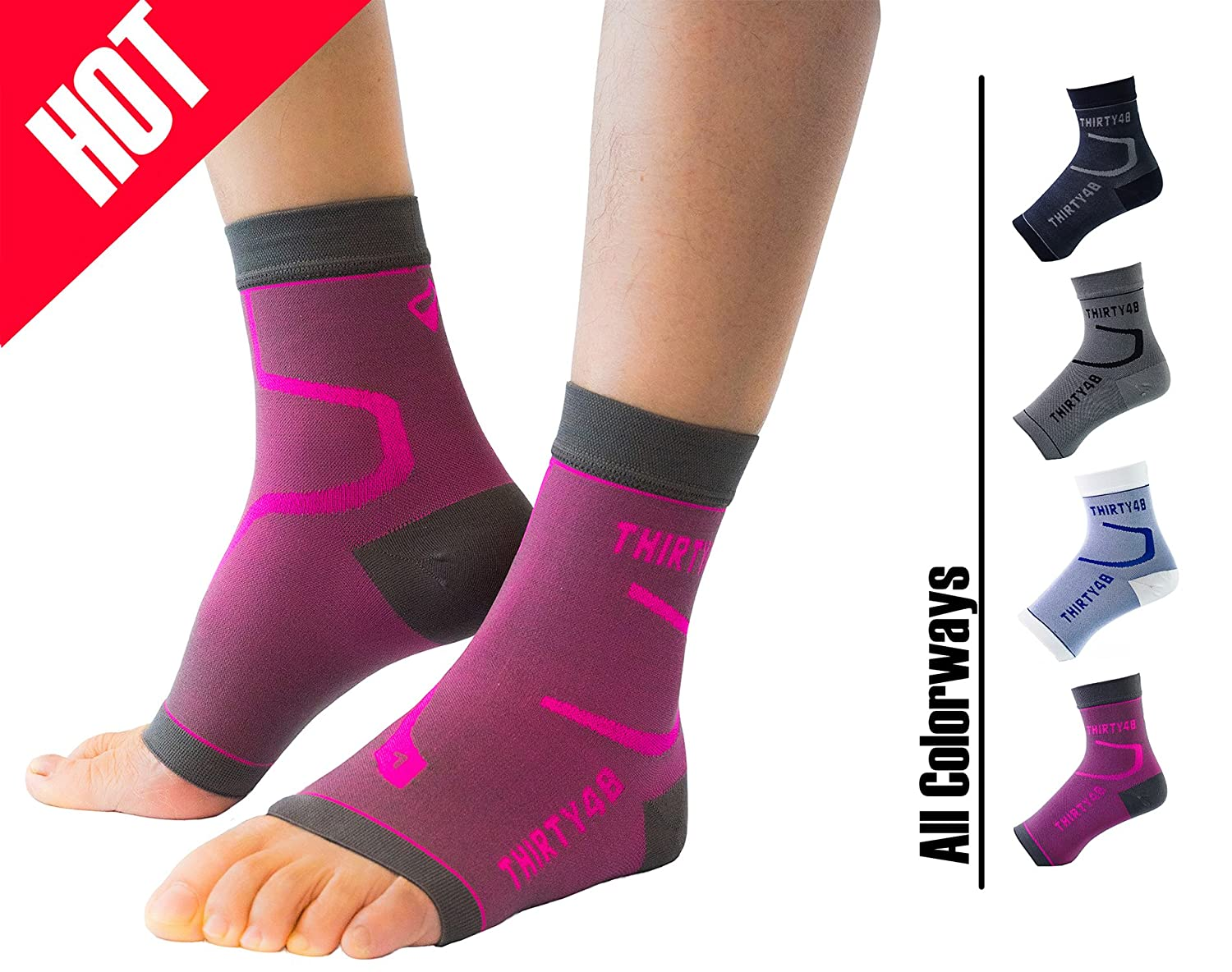 Thirty48 Plantar Fasciitis Compression Socks(1 or 2 Pairs), 20-30 mmHg Foot Compression Sleeves for Ankle/Heel Support, Increase Blood Circulation, Relieve Arch Pain, Reduce Foot Swelling Best Compression Socks