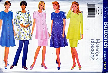92c481dbb0c33 Image Unavailable. Image not available for. Color: BUTTERICK 5376 MATERNITY  CLASSICS, MISSES PETITE DRESS TUNIC SKIRT AND PANTS,, SZ 12